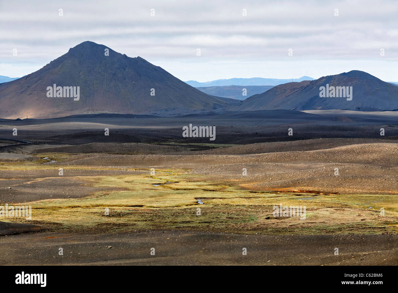 Stark landscape in Central Iceland - Stock Image