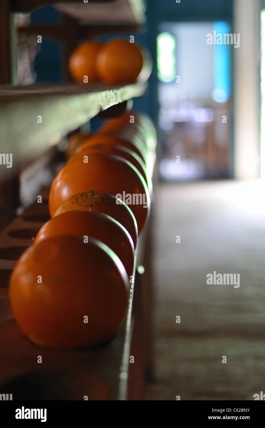 orange wooden balls Stock Photo