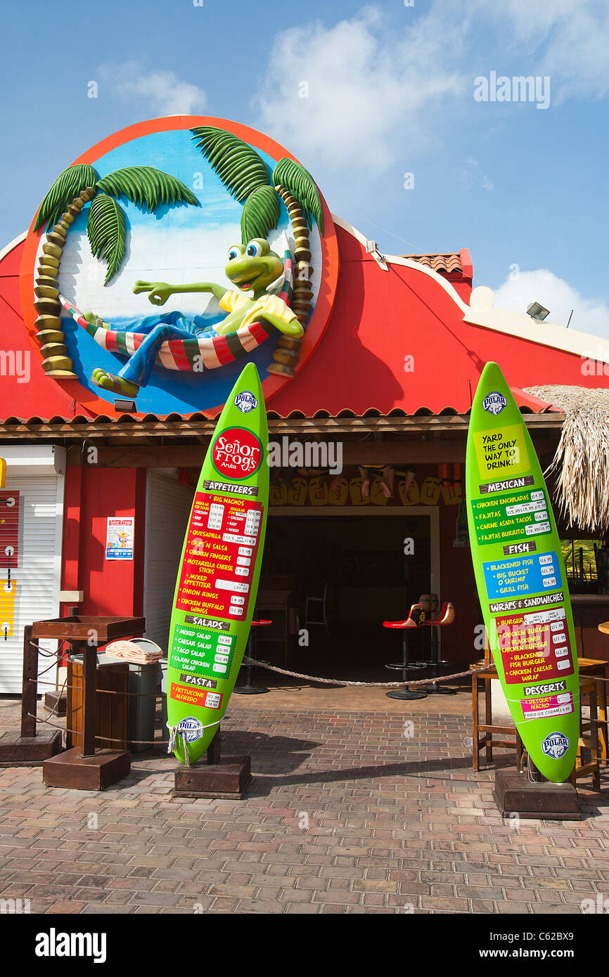 Entrance to Senor Frogs restaurant, bar and grill at the south beach plaza, palm beach, Aruba, Dutch Caribbean - Stock Image