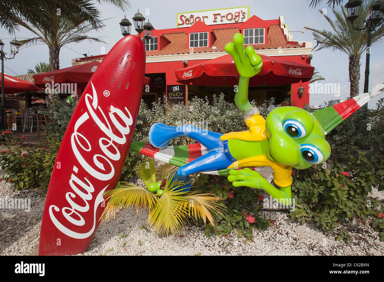 Senor Frogs restaurant, bar and grill at the south beach plaza, palm beach, Aruba, Dutch Caribbean - Stock Image