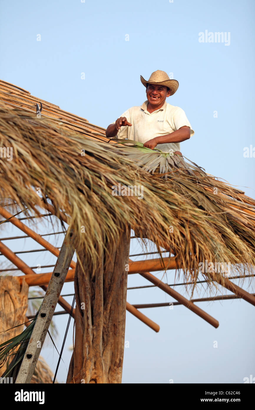 Happy man thatching a roof for a new beach restaurant. Puerto Escondido, Oaxaca, Mexico, North America - Stock Image