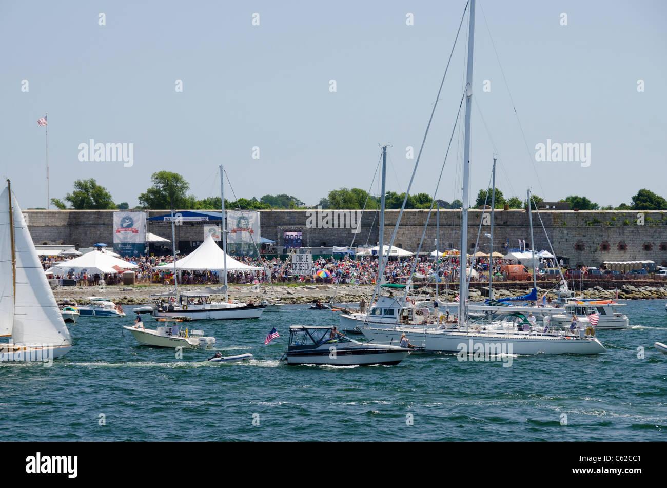 Rhode Island, Newport. Annual Newport Folk Festival held at Fort Adams State Park. - Stock Image