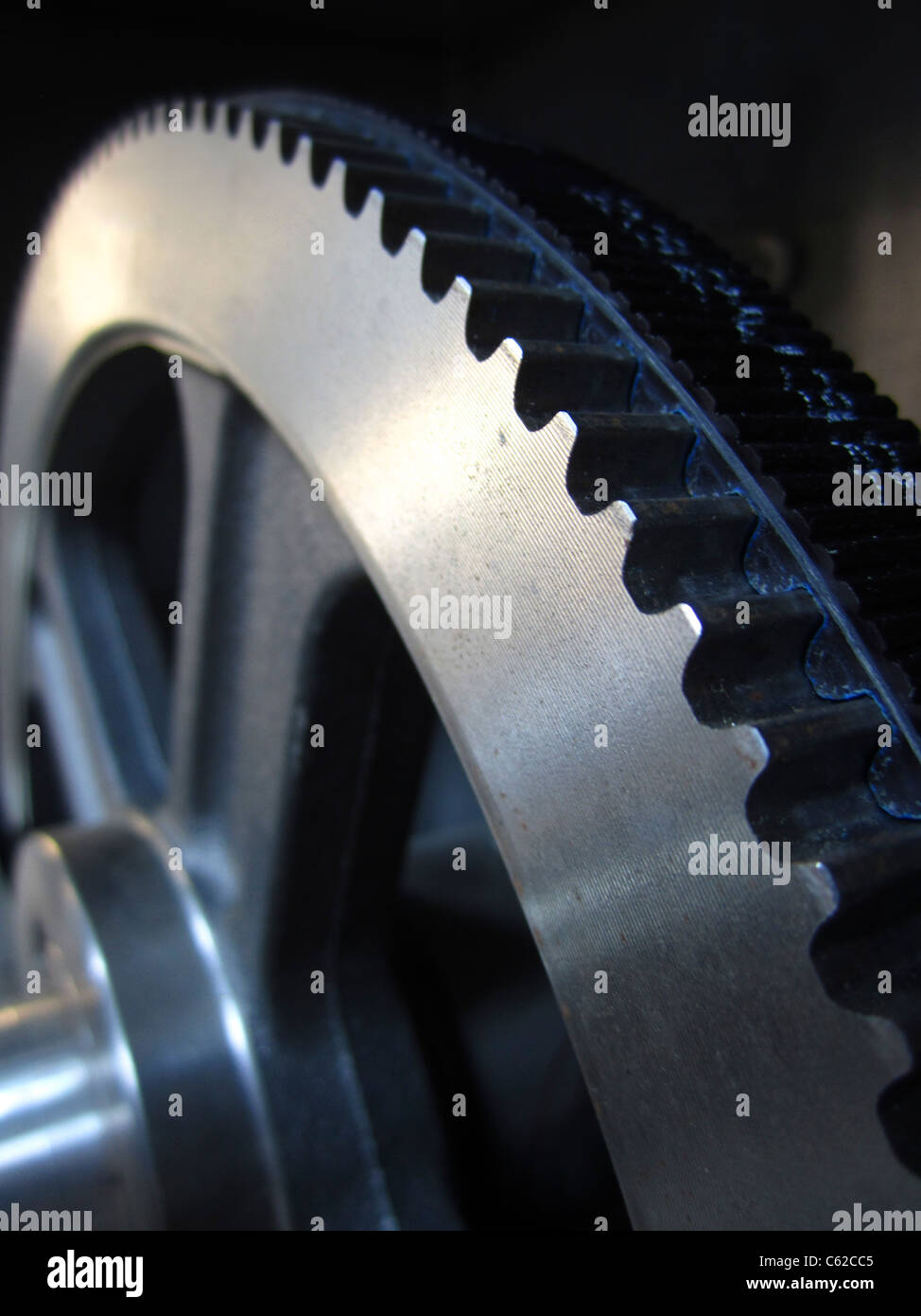 Part of gears with a toothed belt, industry equipment - Stock Image