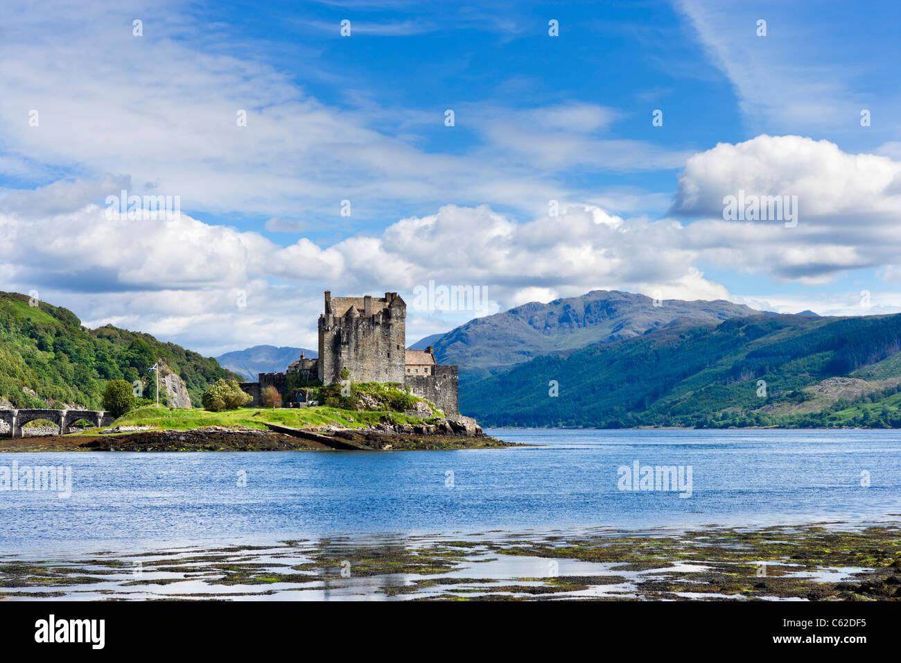 View towards Eilean Donan Castle, Loch Duich, Highland, Scotland, UK - Stock Image