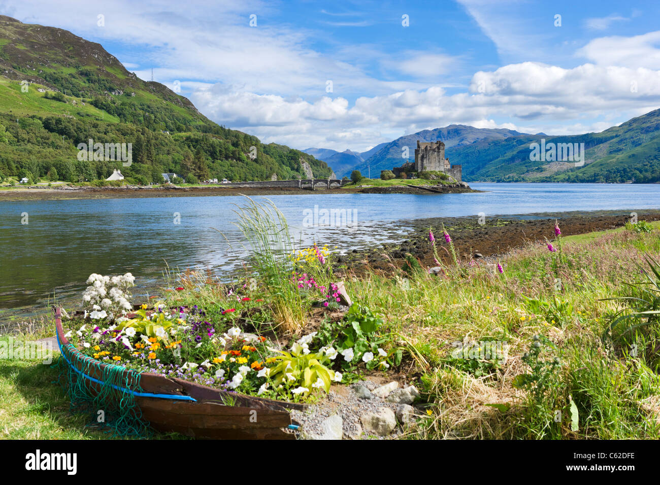 View towards Eilean Donan Castle, Loch Duich, Highland, Scotland, UK - Stock Image
