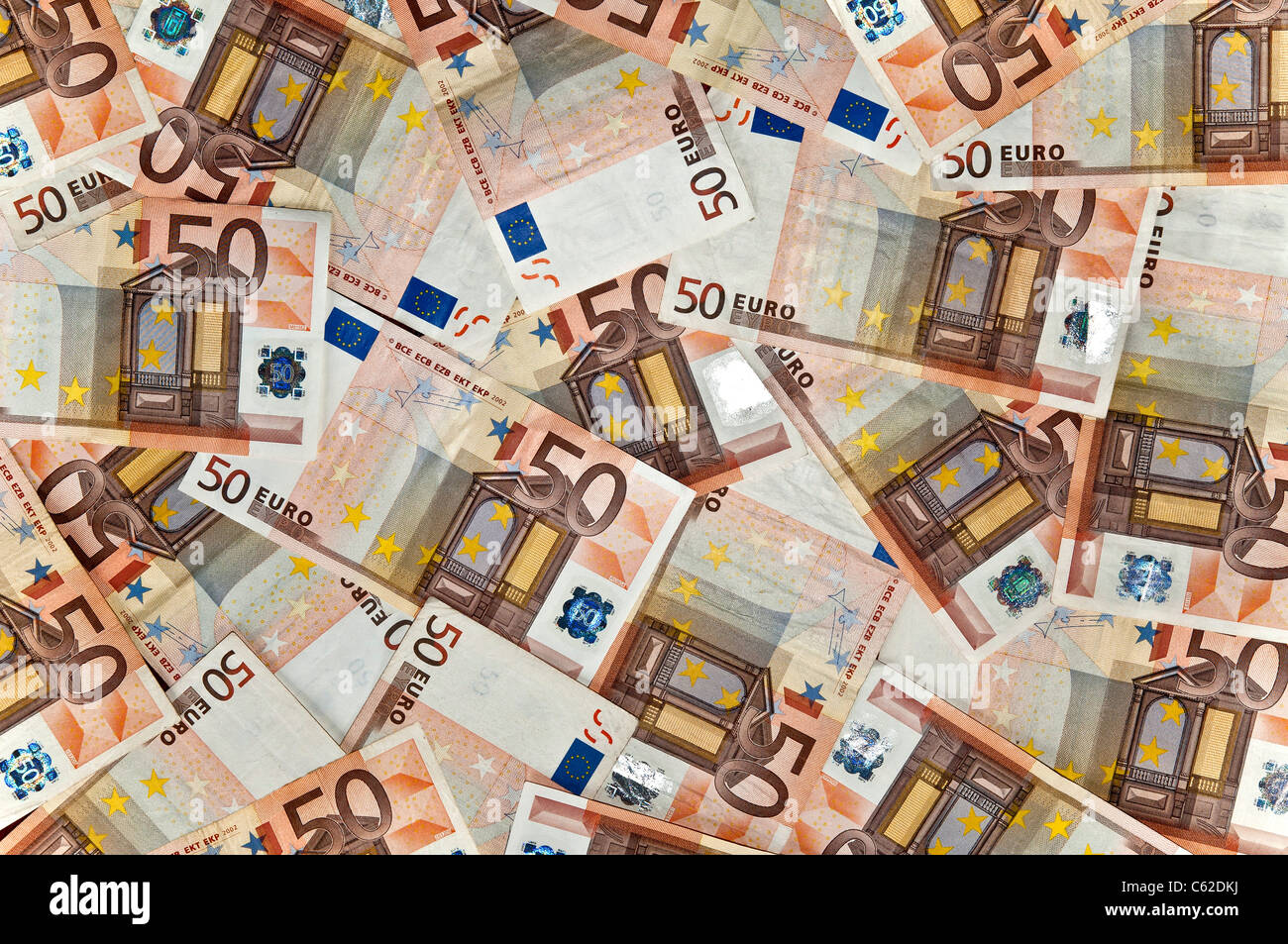 fifty euro notes - Stock Image
