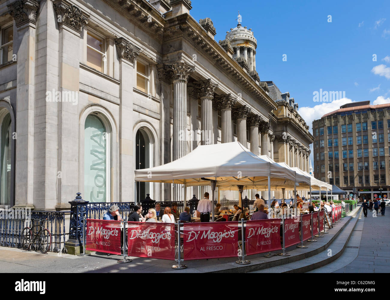 Di Maggios Restaurant outside the Gallery of Modern Art, Royal Exchange Square, Merchant City, Glasgow, Scotland, - Stock Image