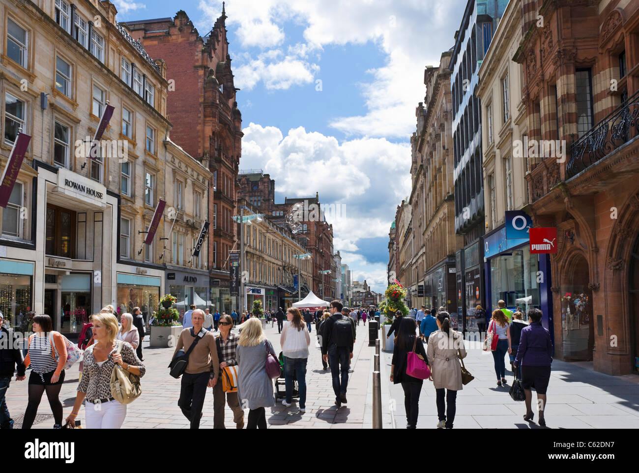 Shops on Buchanan Street in the city centre, Glasgow, Scotland, UK - Stock Image