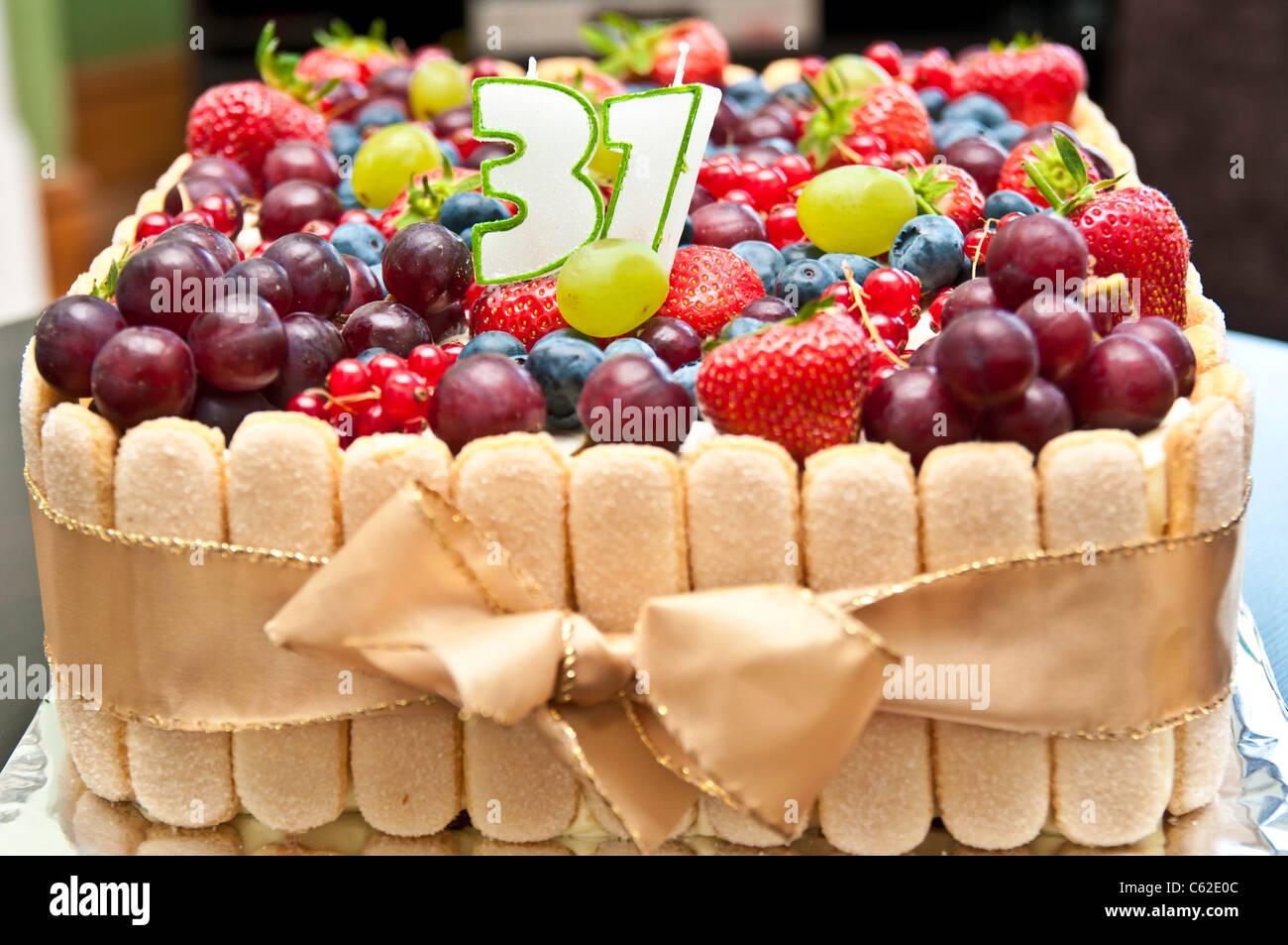 Fruit Birthday Cake Stock Photo 38163564