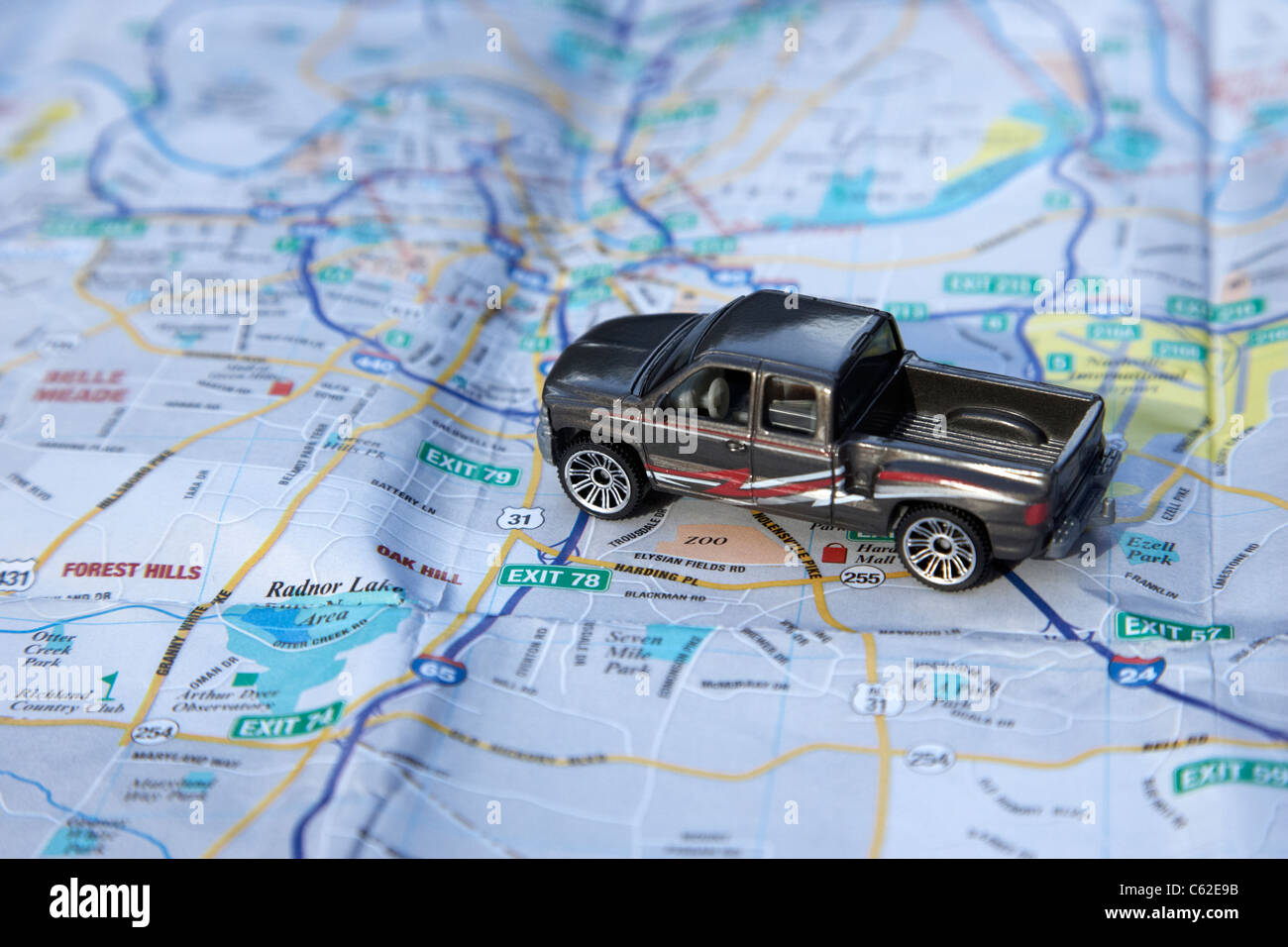 model truck on a city map of nashville in the usa - Stock Image