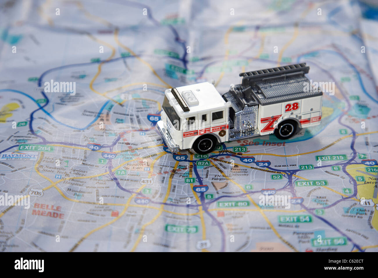 model fire truck on a city map of nashville in the usa - Stock Image