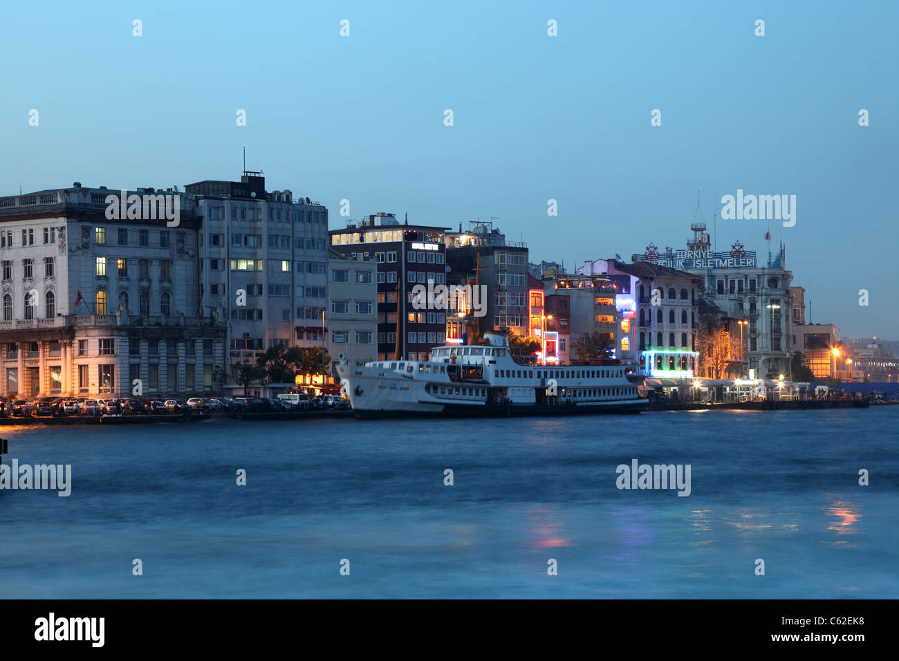 Waterside buildings at Golden Horn in Istanbul, Turkey - Stock Image