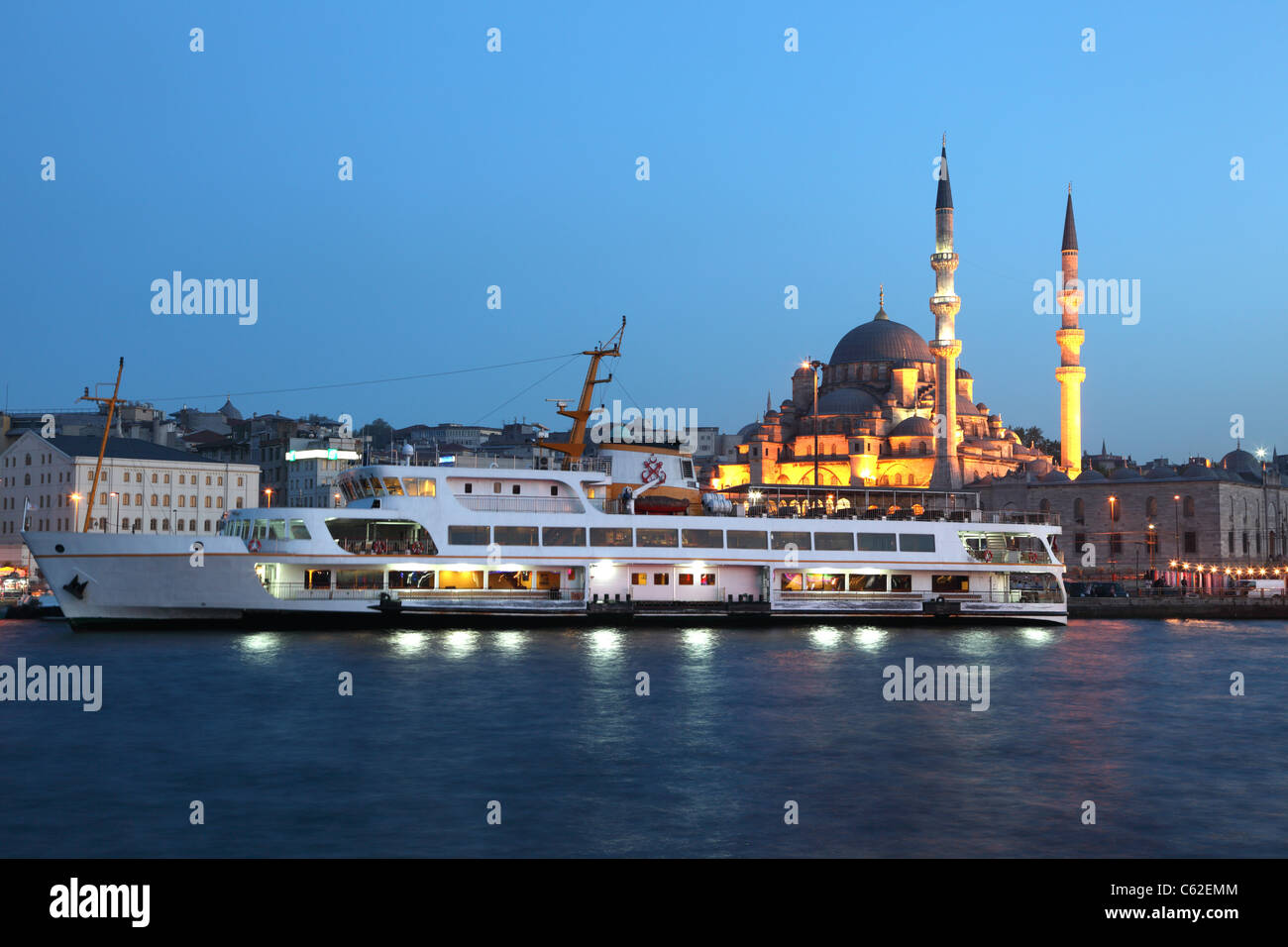 Ferry boat at Golden Horn in Istanbul, Turkey - Stock Image