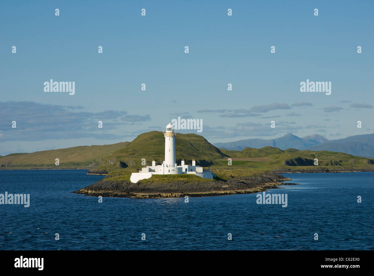 Lismore Lighthouse, on the uninhabited island of Eilean Musdile, between Oban and the island of Mull, Argyll, Scotland - Stock Image