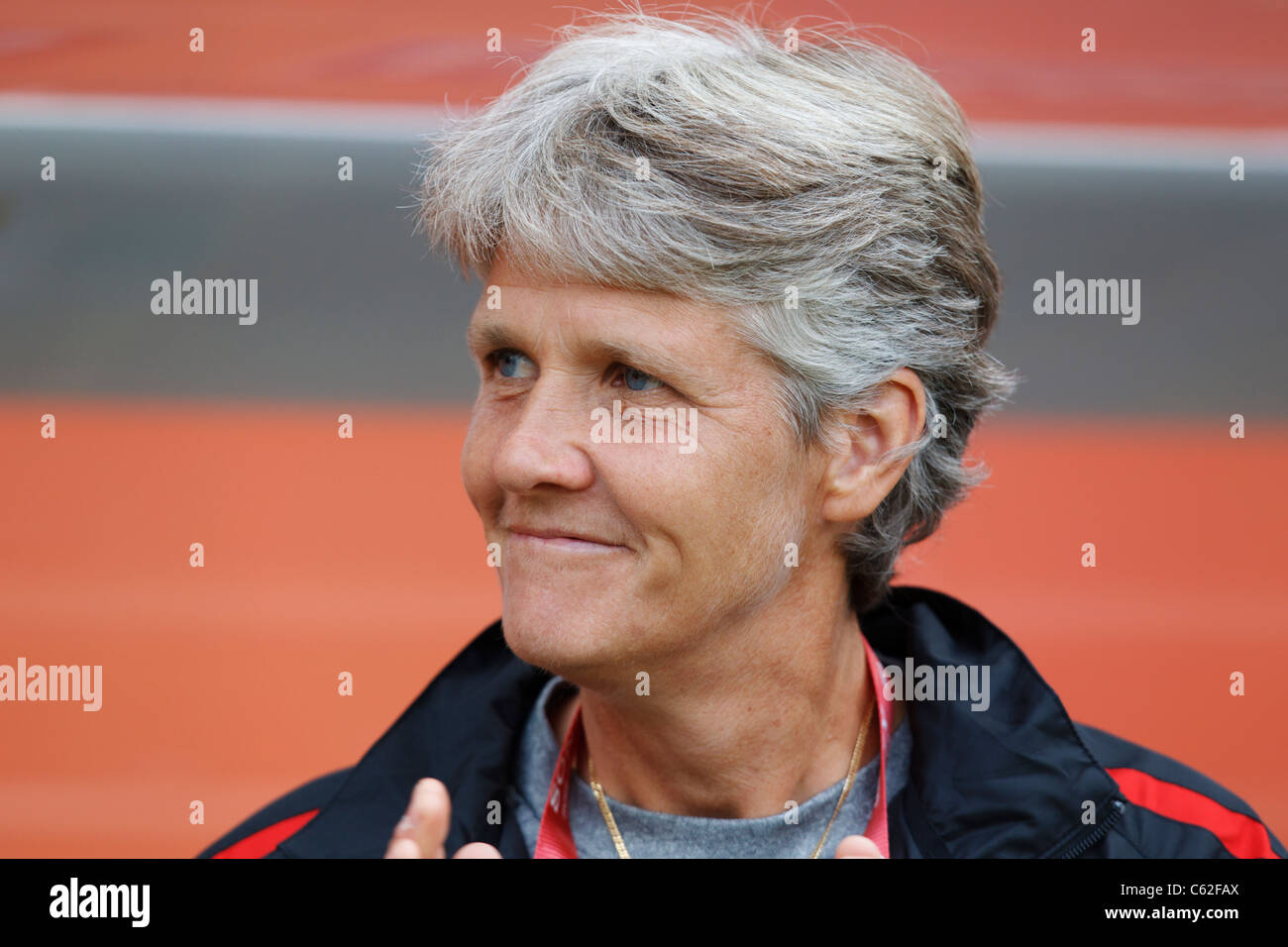 USA head coach Pia Sundhage on the team bench prior to a FIFA Women's World Cup Group C match against Columbia - Stock Image