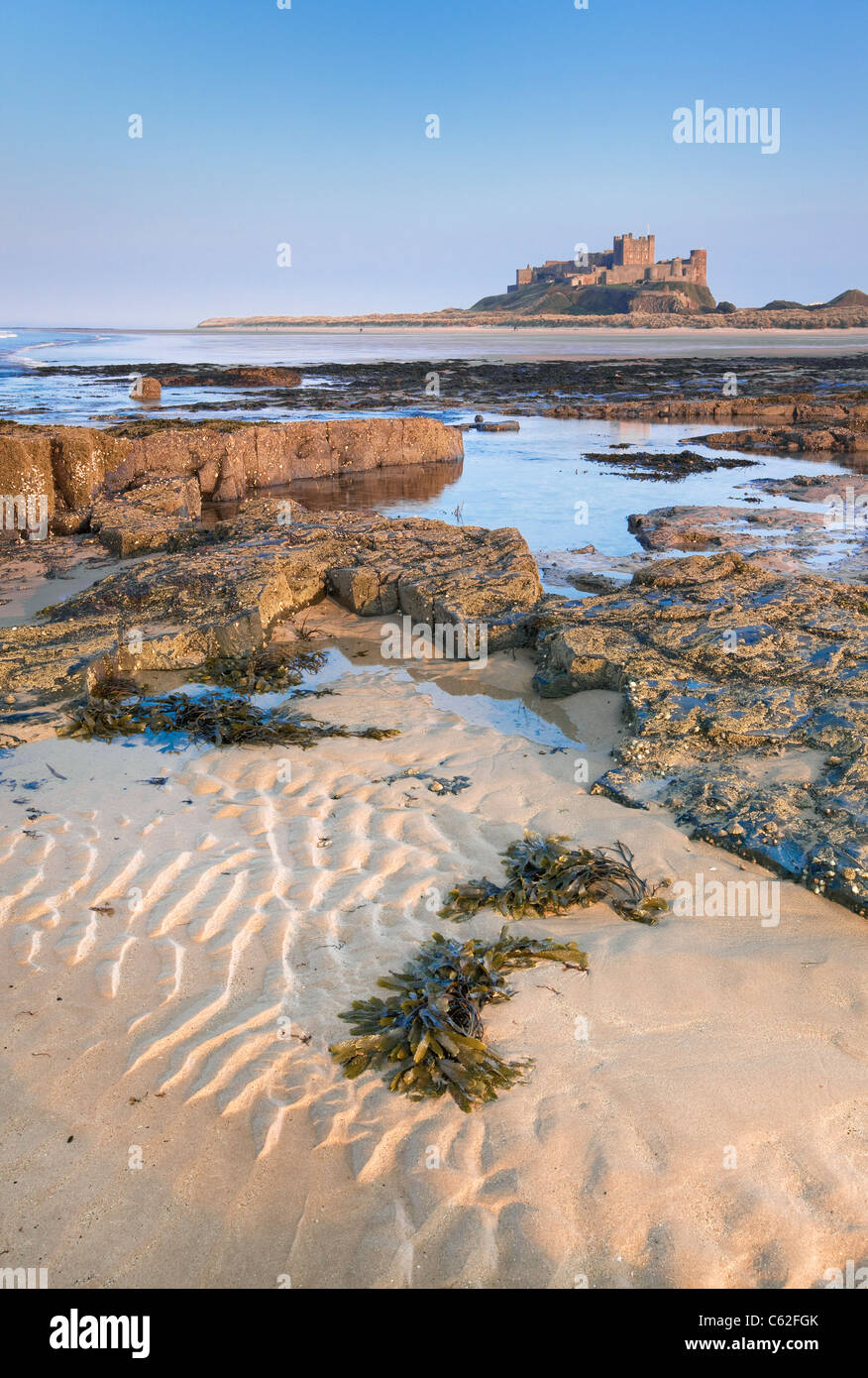 Bamburgh Castle located on the coast at Bamburgh in Northumberland, England. - Stock Image
