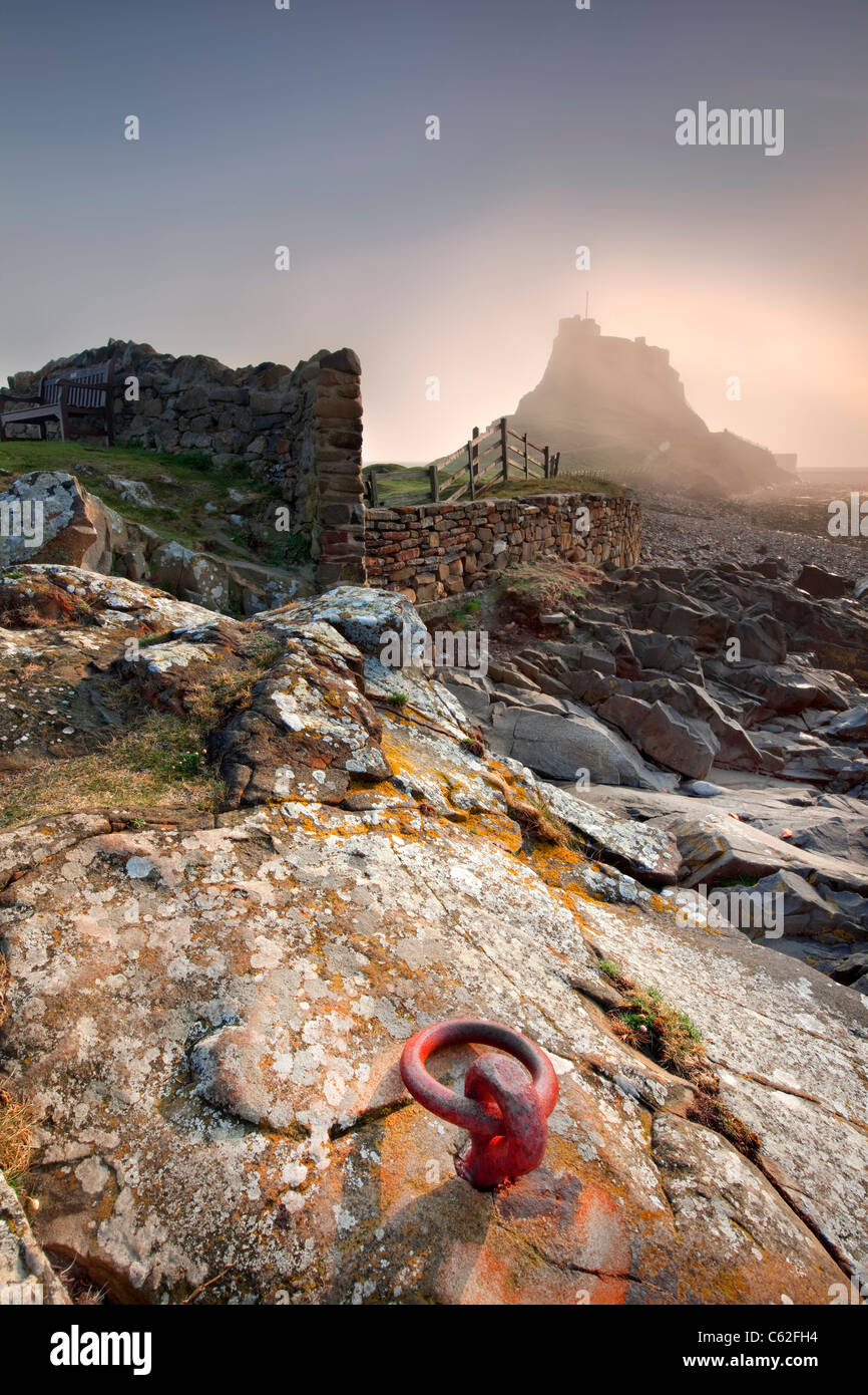 Lindisfarne Castle located on Holy Island, Northumberland, England - Stock Image