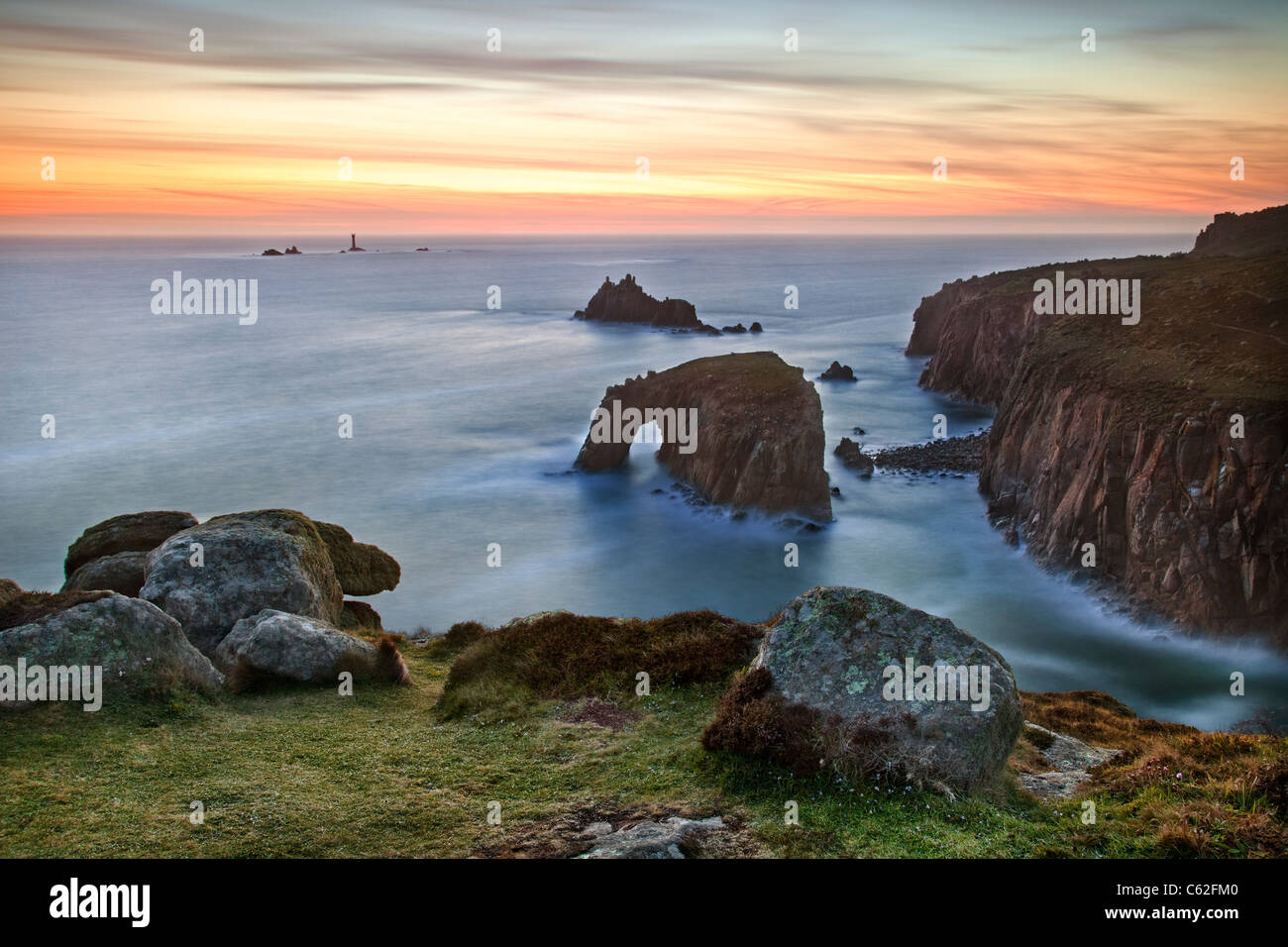 Lands End at Dusk, Cornwall. - Stock Image