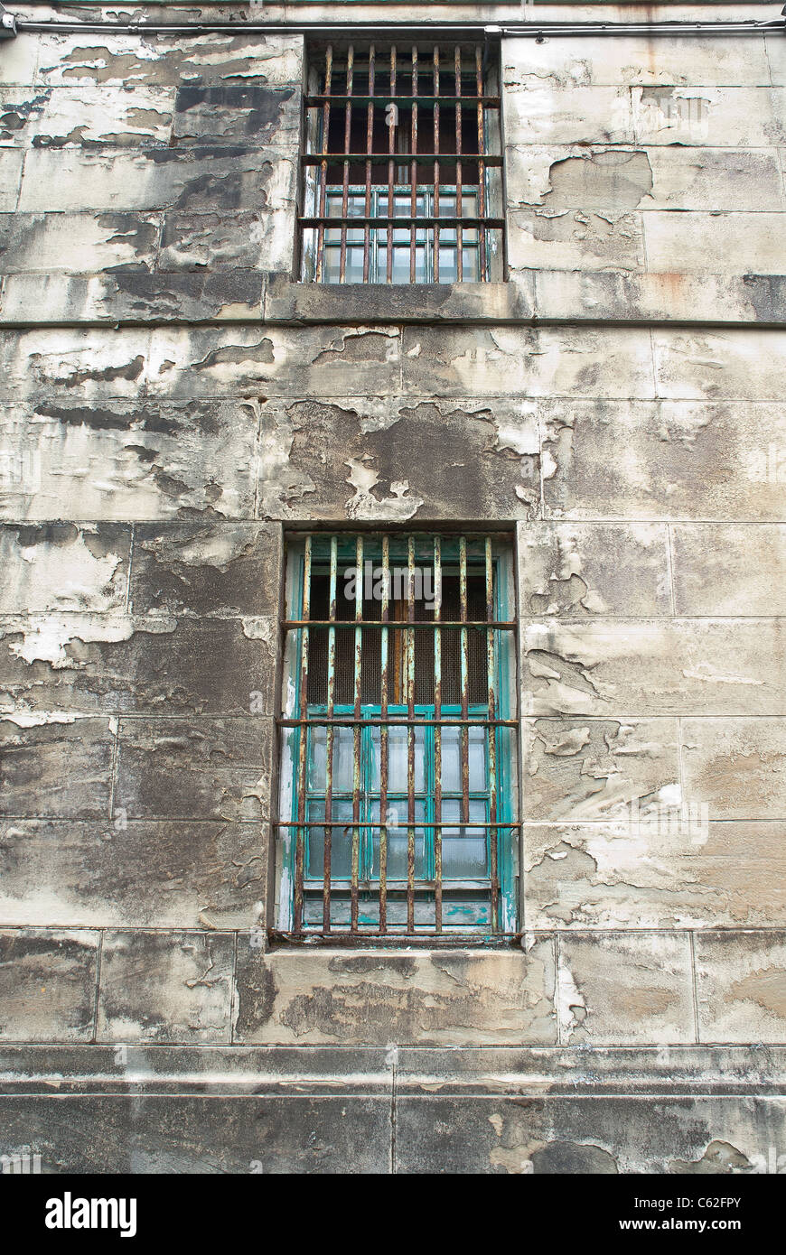 Old jail cell windows in Montesano, Washington State, USA. - Stock Image