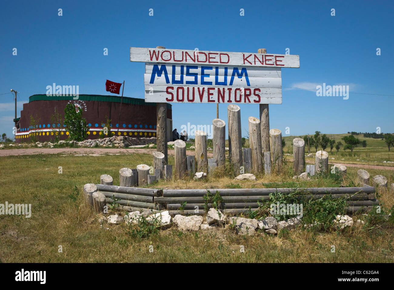 Wounded Knee massacre Museum located near mass grave on Oglala Lakota Sioux Pine Ridge reservation in South Dakota Stock Photo