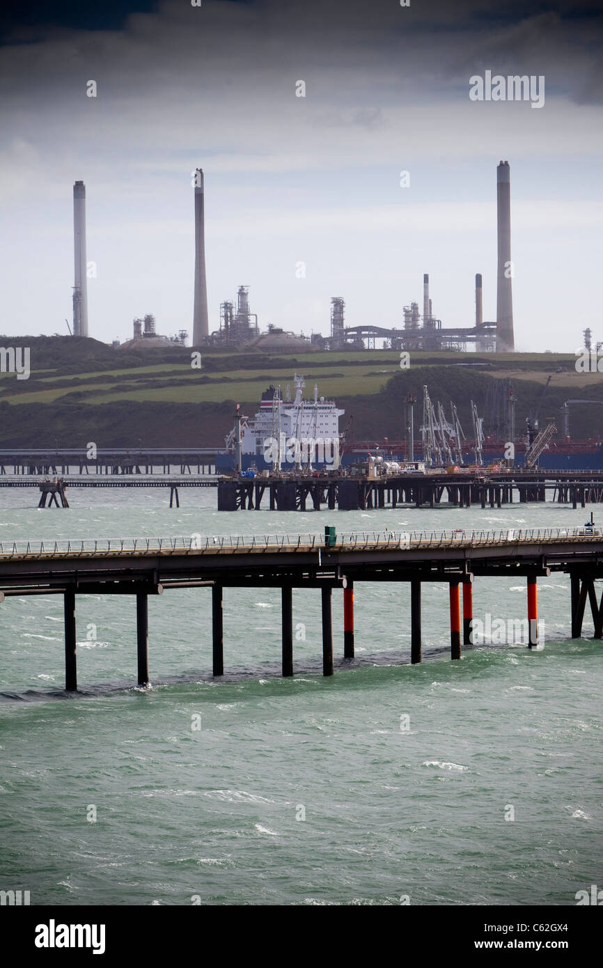 The LNG terminal at Milford Haven, West Wales. Stock Photo