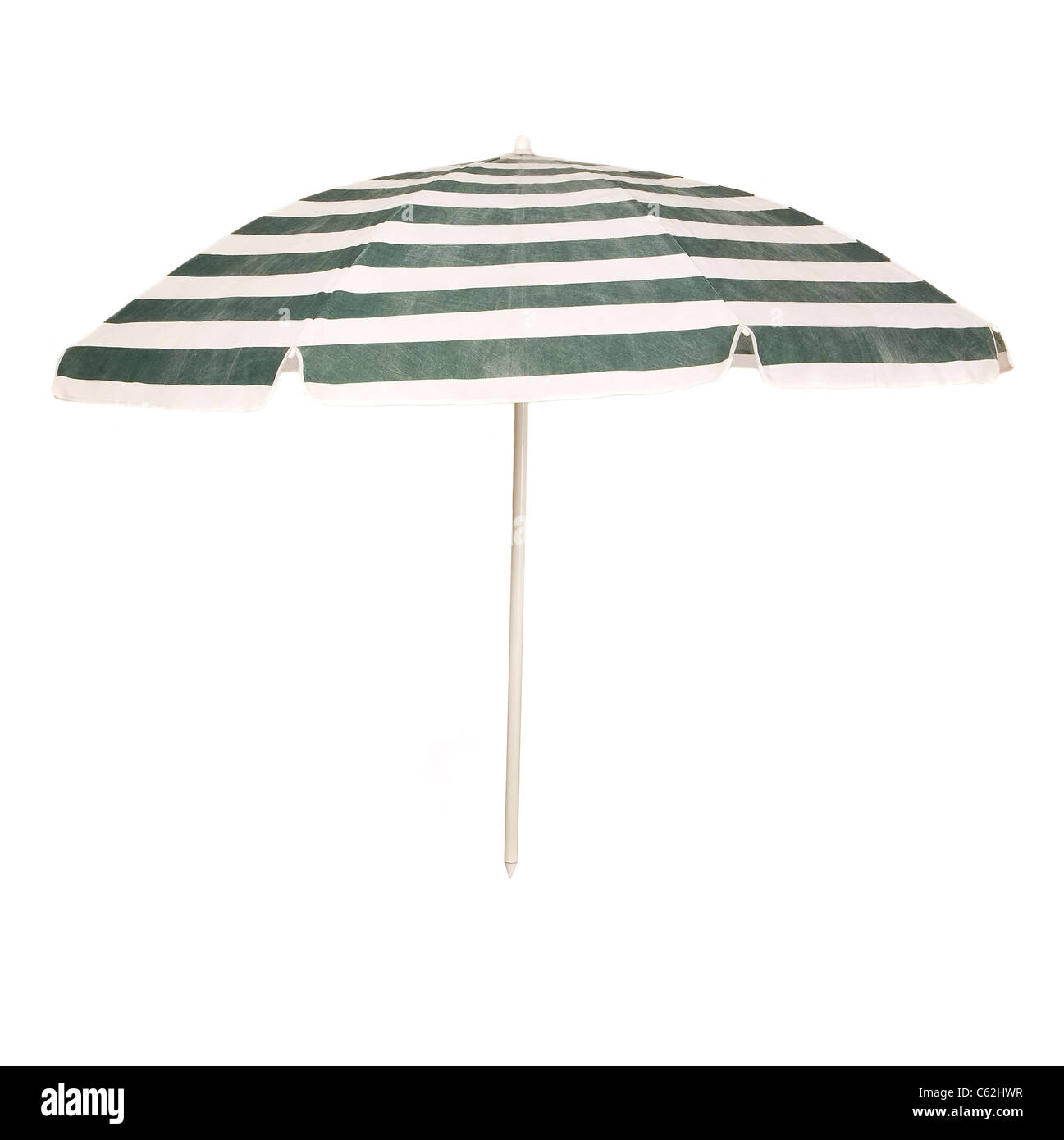 Blue, green umbrella from summer hot with metal shank - Stock Image