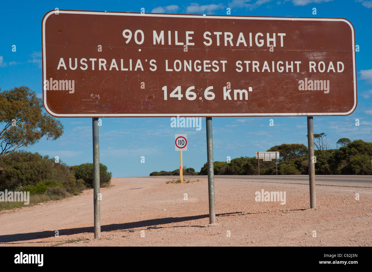 The Ninety Mile straight, the longest stretch of straight road on the continent of Australia - Stock Image
