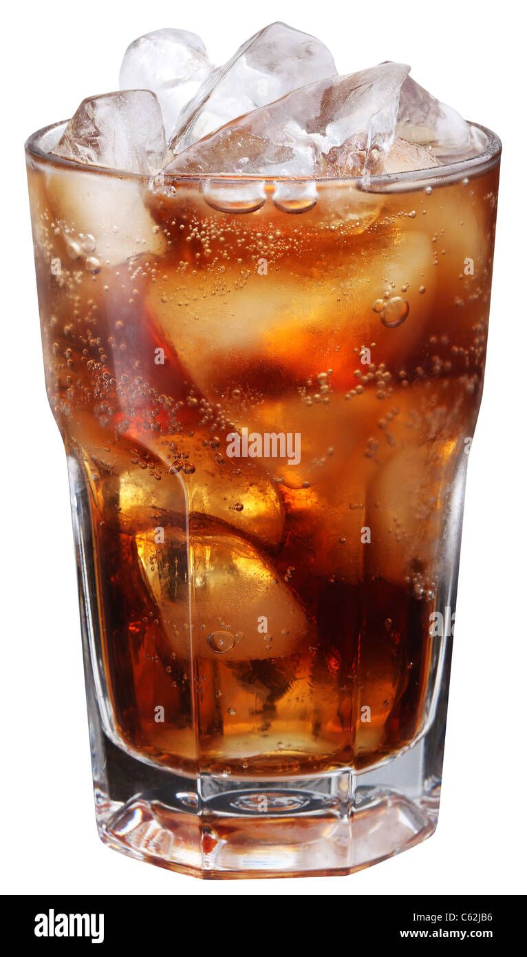 Cola glass. Isolated on white background. File contains a path to cut. - Stock Image