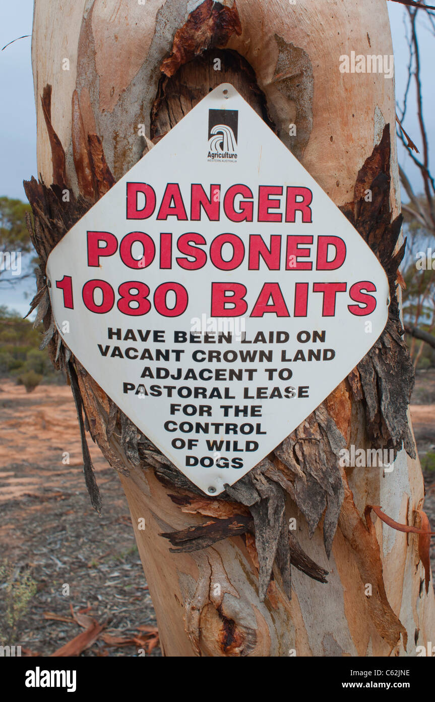 Warning notice of the laying of 1080 poison baits for the control of dingoes in Western Australia - Stock Image