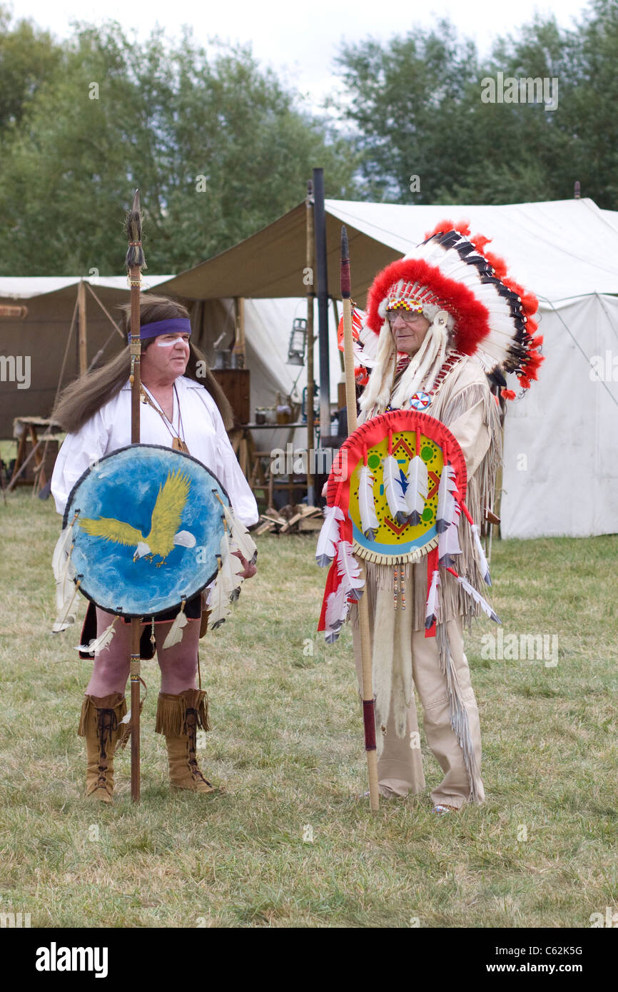 Native American Indians at a reenactment show - Stock Image