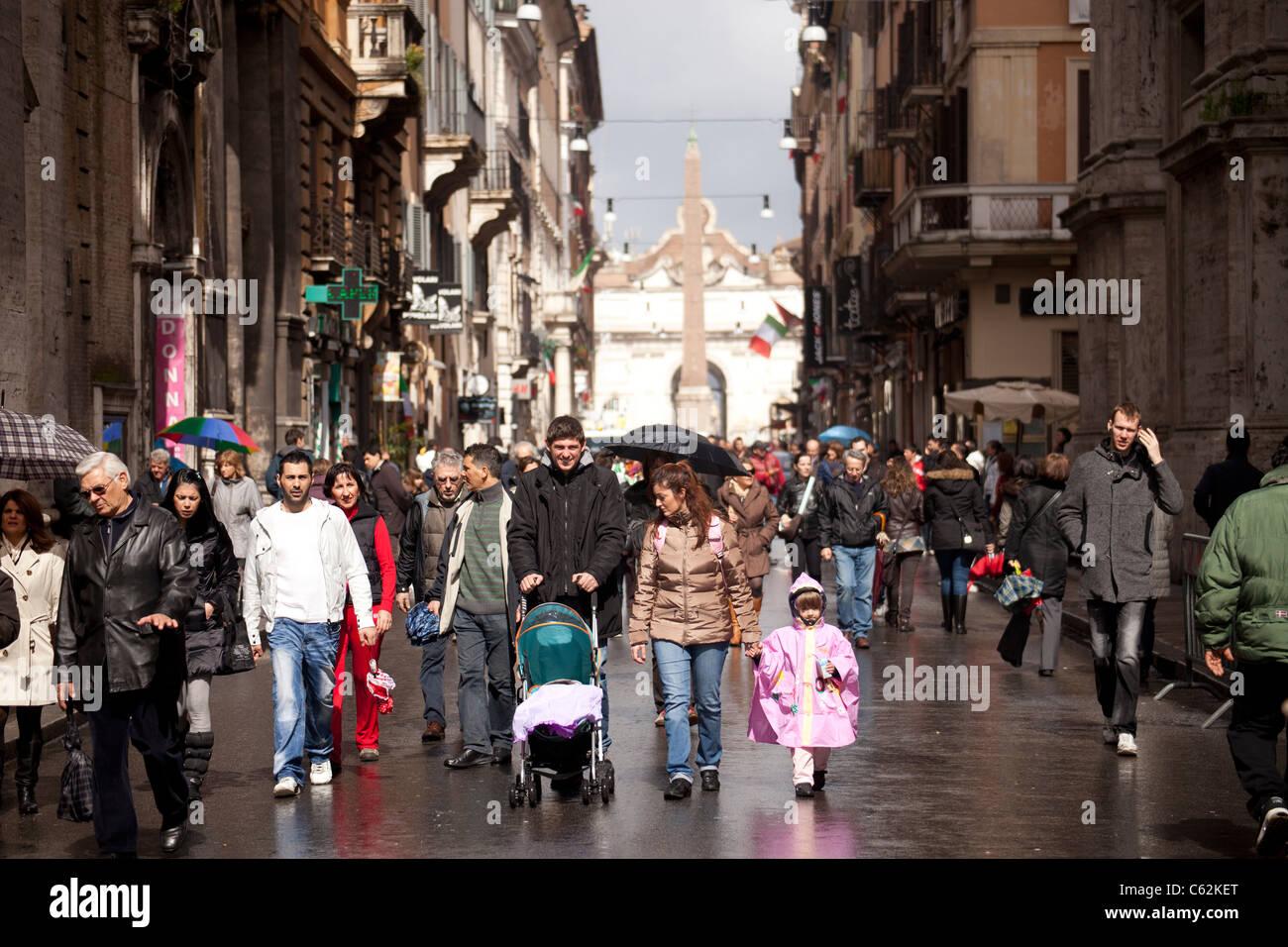pedestrian area Via del Corso in Rome, Italy - Stock Image