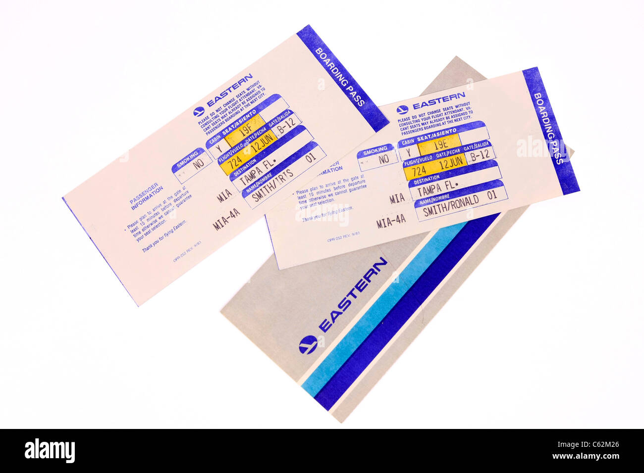 American Eastern Airlines Flight tickets and Boarding Passes - Stock Image