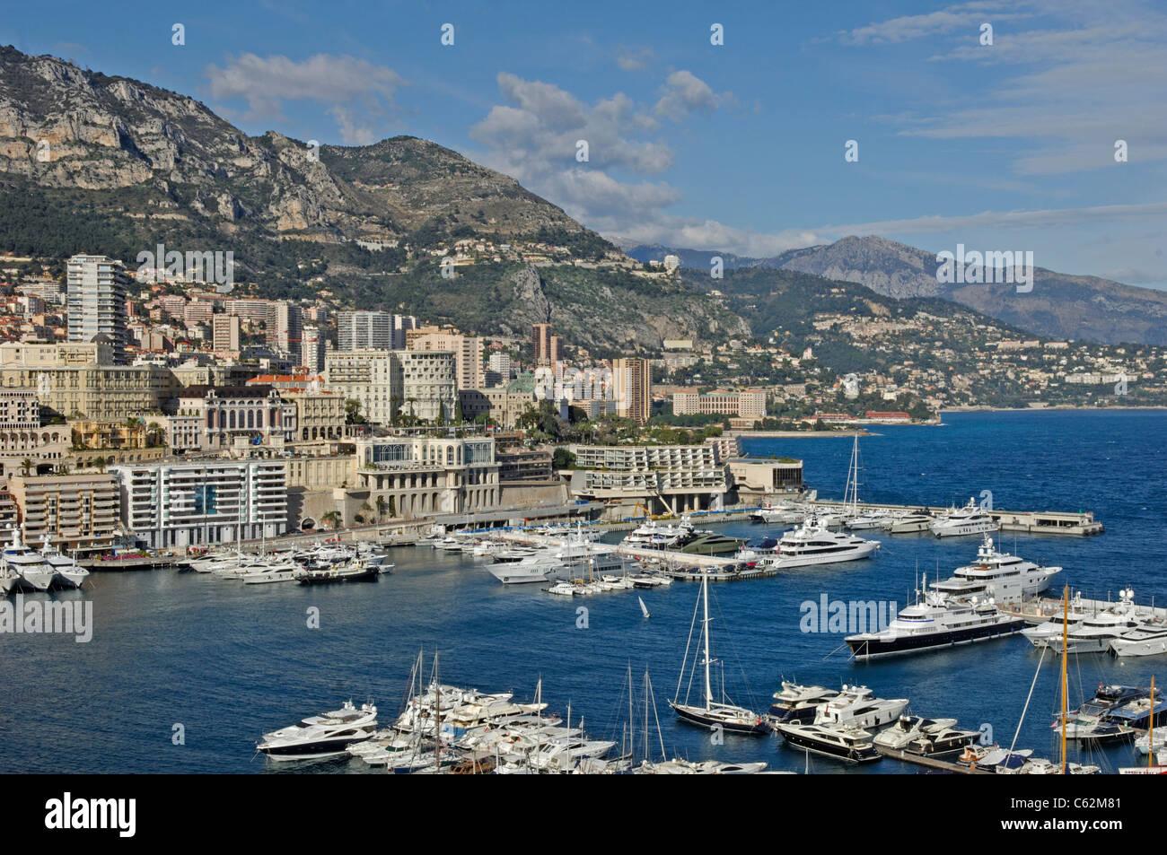 Monte Carlo harbour, Port Hercule, Principality of Monaco - Stock Image