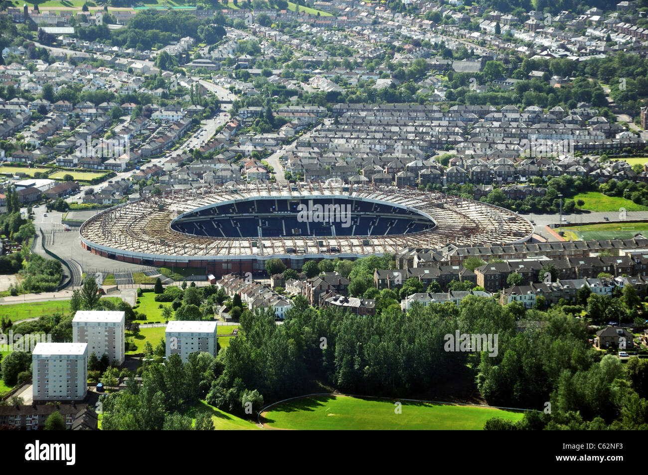 Scotland's national football stadium, Hampden Park, Glasgow, from the air - Stock Image
