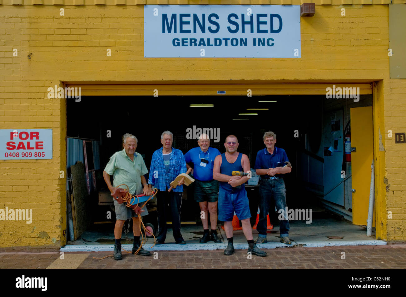 Members of the Mens Shed work group Geraldton Western Australia - Stock Image