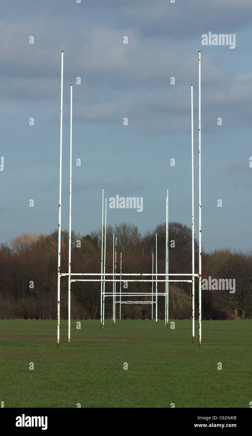 Rugby posts within rugby posts on adjoining pitches - Stock Image