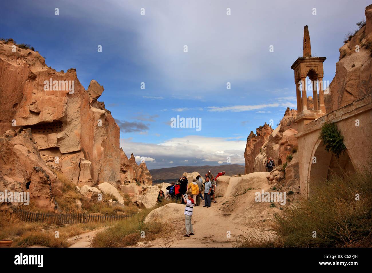 "One of the ""twin"" valleys in Zelve, a great monastic complex, between Goreme and Avanos, Nevsehir, Cappadocia, Turkey Stock Photo"