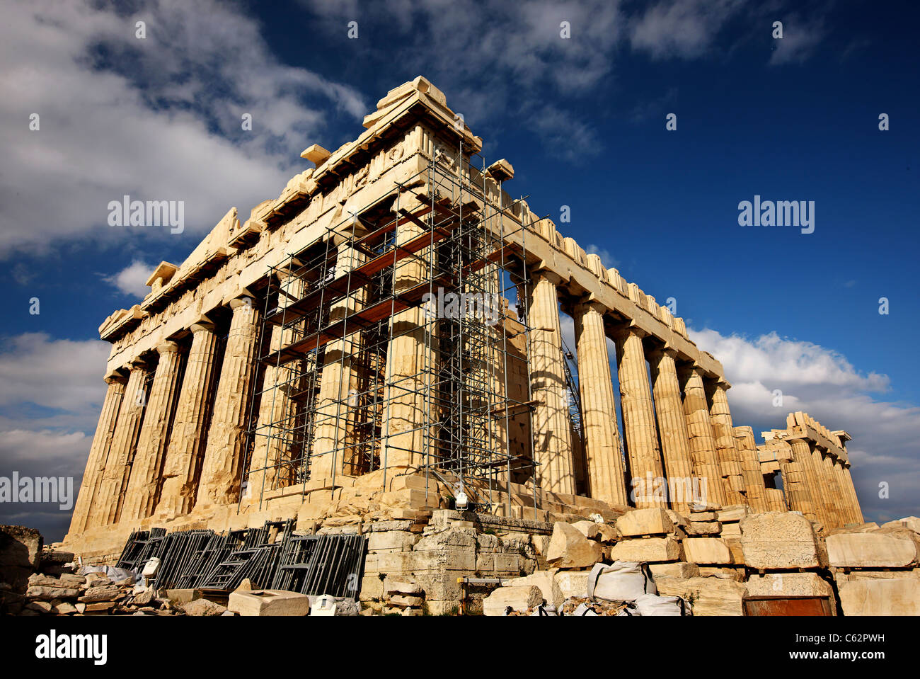 The Parthenon of the Acropolis of Athens, eternal symbol of classical beauty and  a priceless heritage for all mankind - Stock Image