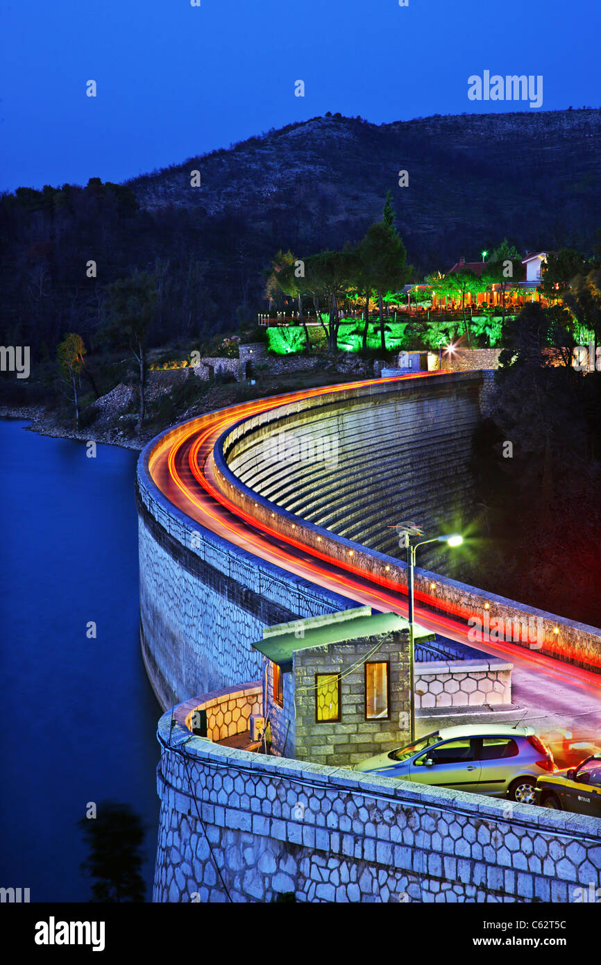 Marathon dam and artificial lake, in the 'blue' hour. Attica, Greece - Stock Image