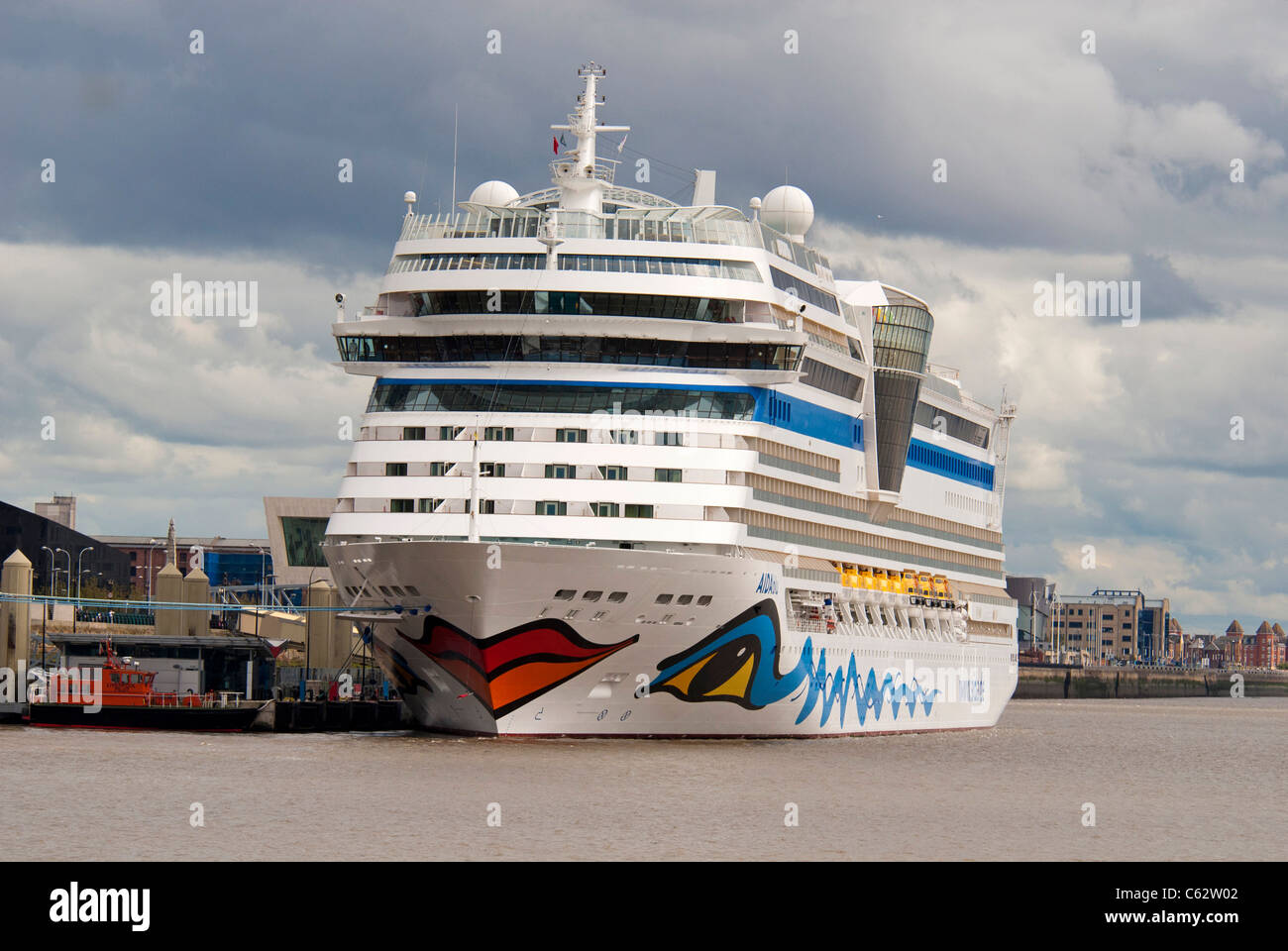Cruise liner Aidablu berthed at the Liverpool cruise terminal at the Pier Head.  - Stock Image