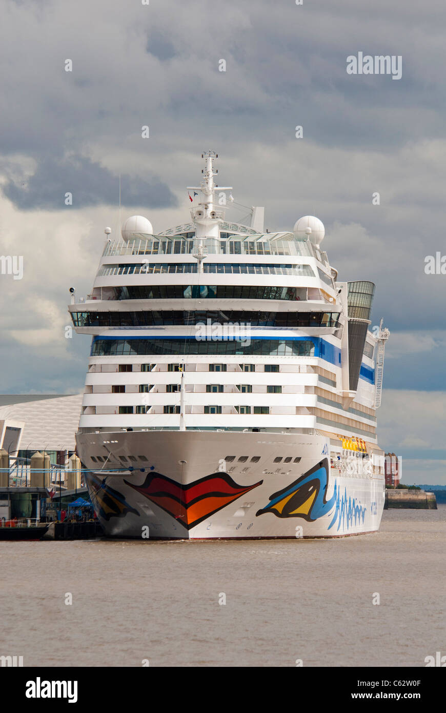 Cruise liner Aidablu berthed at the Liverpool cruise terminal at the Pier Head.  Stock Photo