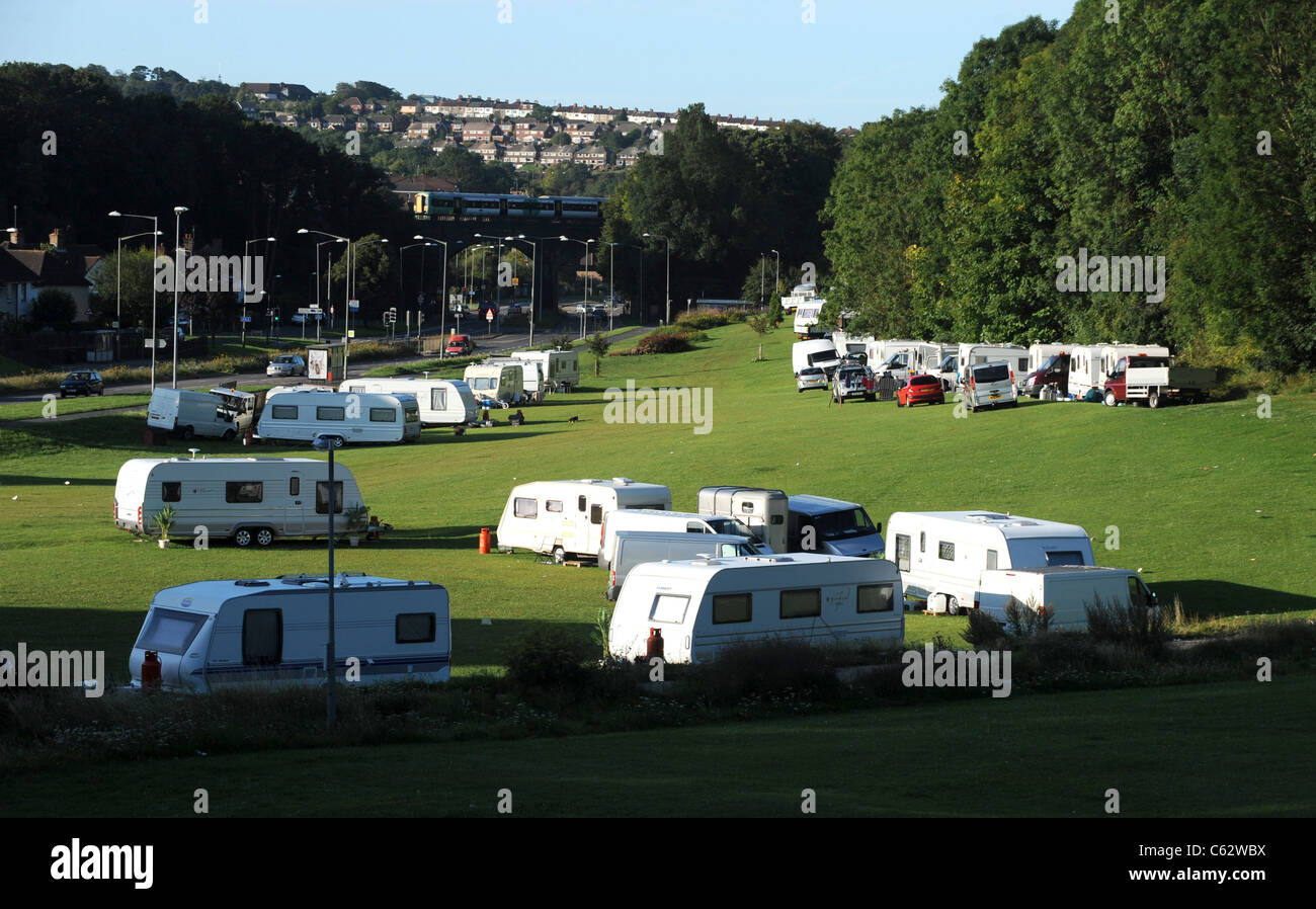 About 100 travellers vehicles have moved back on to Wild Park in Brighton over the weekend August 15th 2011 - Stock Image