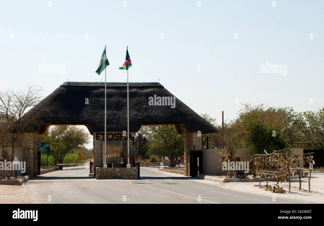 The southern entrance, Anderson gate, to Etosha national park. Etosha, Namibia. - Stock Image