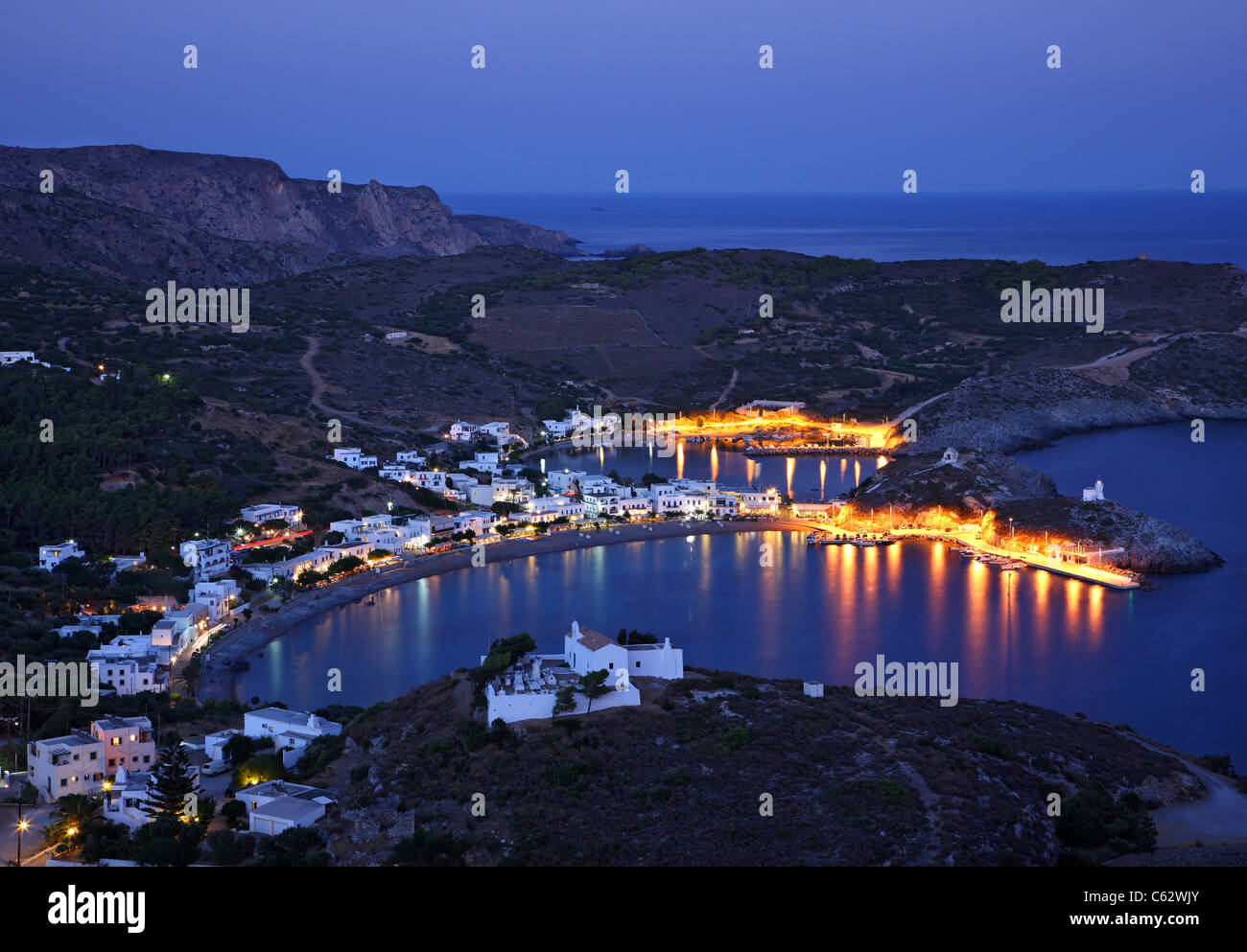 Panoramic night view of Kapsali village from Hora (the 'capital') of Kythira (or 'Cythera' island, - Stock Image