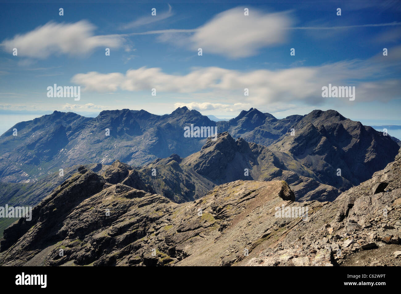 View over the dramatic jagged peaks of the Black Cuillin ridge from Bruach na Frithe, Isle of Skye, Scotland - Stock Image
