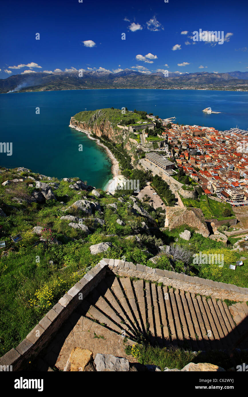 Panoramic view of Nafplio and the Argolic gulf from Palamidi Castle. You can see some of the 999 stairs to connect Stock Photo