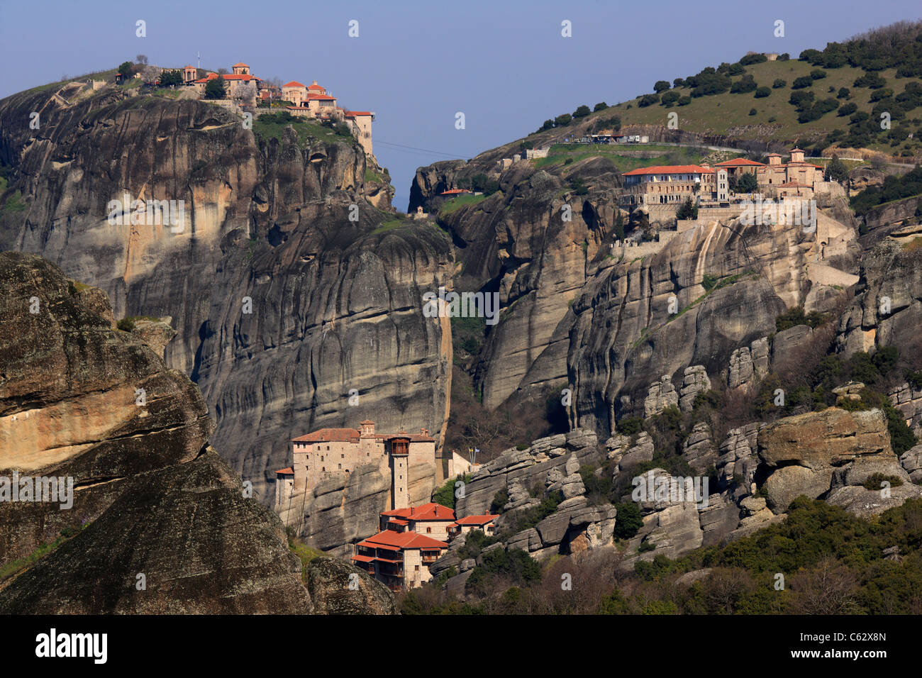 "Panoramic view of the ""heart of the monastic complex of Meteora, where you can see 3 of the 6 still active monasteries. Stock Photo"