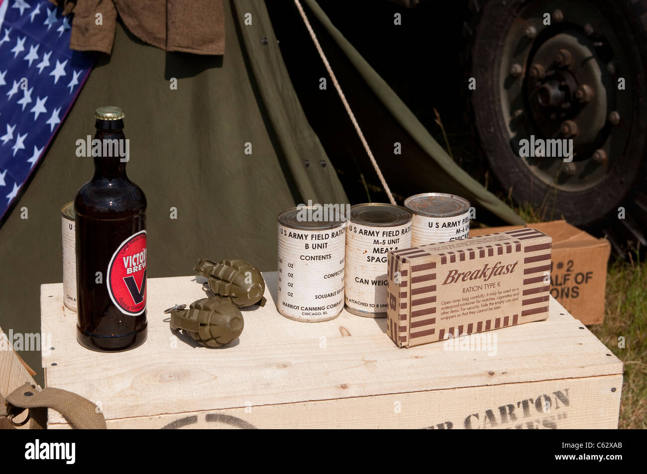 American military artefacts on display at an enthusiasts rally. - Stock Image