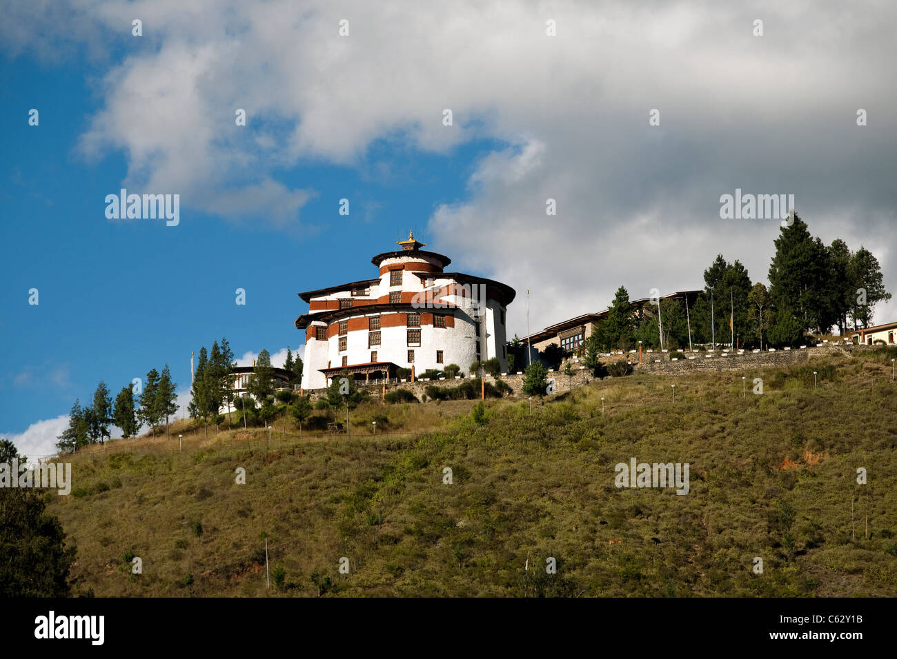 National Museum at the top of the hill above Paro Dzong. Bhutan. - Stock Image