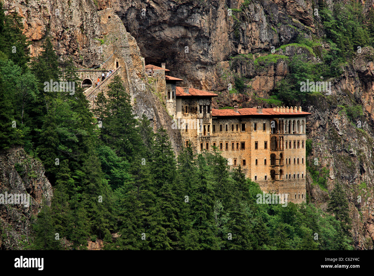 Sumela monastery one of the most impressive sights in the whole Black Sea region, in Altindere Valley, Trabzon province, - Stock Image